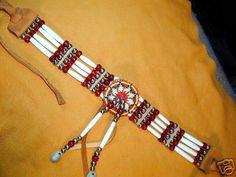 native american beaded chokers | Native American Buffalo Bone Choker Beaded Rosette by Touchearth