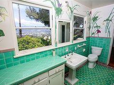 "Vintage Bathroom Love on Instagram: ""1920's Spanish in Los Angeles, CA (Los Feliz). Always brightens my day to see a vintage Spanish with both the original kitchen and…"" Vintage Bathrooms, Tiled Bathrooms, Corner Bathtub, Architecture Details, Mirror, The Originals, Kitchen, Furniture, Ios"