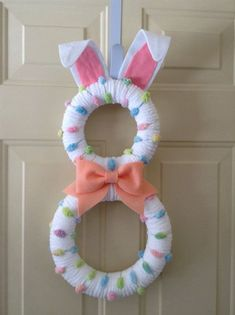 Easter Bunny Wreath Pastel Bunny by BlueHouseDesignz on . Easter Projects, Easter Crafts, Easter Decor, Wreath Crafts, Diy Wreath, Wreath Ideas, Tulle Wreath, Burlap Wreaths, Diy Crafts