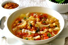 This chickpea soup is full of fiber and protein which keeps you full longer. It's also low in fat and calories and has simple delicious rustic flavors.