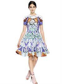 Chrono Printed Silk & Cotton Dress