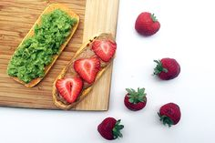 To one piece of sweet potato toast add the mashed avocado. To the other piece of sweet potato toast spread the almond butter and top off with freshly sliced strawberries. Enjoy!