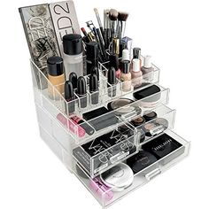 Alegory Acrylic Lip Gloss Makeup Organizer, 24 Spaces - Clear