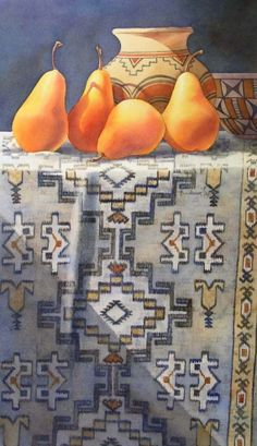 SOUTHWEST PEARS watercolor still life painting, painting by artist Barbara Fox