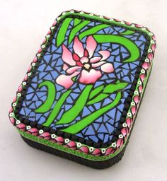 Polymer Clay mosaic treasure tin by Lisa Pavelka