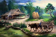 SA Ashik Vai: Here is a beautiful rural view. Indian Art Paintings, Nature Paintings, Beautiful Paintings, Landscape Paintings, Art Pictures, Art Images, Photos, Painting Gallery, Art Gallery