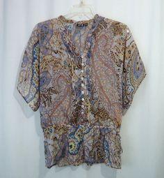 APT 9 Womens Sheer Multi-Color Floral Paisley Print Drop Waist Blouse Top, SZ XL #Apt9 #Blouse #Casual