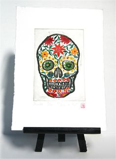 Skull  Original Etching by freshandsilly on Etsy, $35.00 All The Colors, Different Colors, Printing Press, Pretty Eyes, Paper Size, Pretty Pictures, Eye Candy, Art Photography, Skull