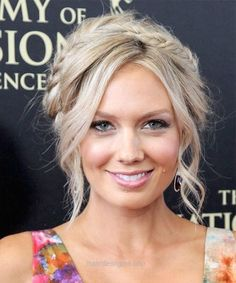 Melissa Ordway Casual Curly Updo Braided Hairstyle – Light Blonde (Champagne)…