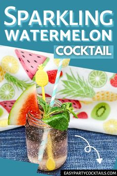 Light and refreshing, this Sparkling Watermelon Cocktail is the ultimate summer (adult) thirst quencher! Watermelon Cocktail, Easy Cocktails, Sparkling Wine, Rum, Sparkle, Party, Summer, Summer Time, Parties