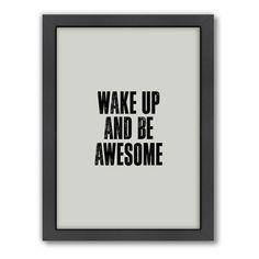 """Americanflat Motivated Type """"Wake Up"""" Typography Framed Wall Art"""