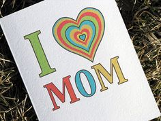 Mother's Day Card I Heart Mom by HeartsGrowFonder on Etsy, $2.75