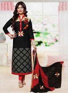 Black Cotton Embroidery Designer Salwar Suit