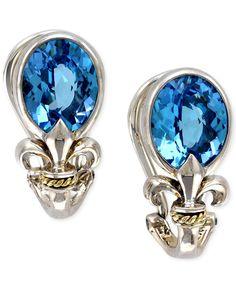 Balissima by Effy Blue Topaz Fleur de Lis Earrings in 18k Gold and Sterling Silver (5-3/8 ct. t.w.)