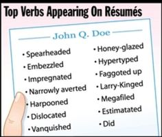 The top verbs appearing on resumes.