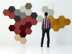 Modular Wall Panel for interior , design by Jose Manuel Ferrero for Sankal. In the bedroom, in the hall, in the lounge, in a restaurant. The Tea hexagonal Acoustic Fabric, Acoustic Wall Panels, 3d Wall Panels, Fabric Panels, Wall Fabric, 3d Interior Design, Interior Modern, Ceiling Design, Wall Design