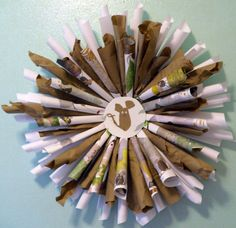 """""""Homage to Frederick"""" book wreath by Sharon Giles, based on the children's book """"Frederick"""" about a mouse Book Wreath, Recycled Art, Book Crafts, Open House, Art Supplies, Childrens Books, Book Art, Recycling, Classroom"""