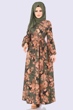 Modaselvim ELBİSE Dijital Baskılı Kemerli Elbise 5133AY342 Haki The Dress, Baby Dress, High Neck Dress, Women's Fashion Dresses, Hijab Fashion, Purple Lily, Hijab Dress, Types Of Dresses, Custom Clothes
