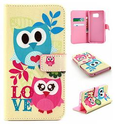 Cute Pink Cartoon Owl Pattern Leather Flip Stand Case with Card Slots for Samsung Galaxy Note 5 & S6 Edge plus