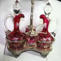 VINTAGE-ANTIQUE-FLASHED-CRANBERRY-CUT-GLASS-CRUET-CONDIMENT-SET-WITH-STAND