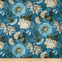 Vintage Garden Large Allover Teal from @fabricdotcom  Designed by Jo Moulton and licensed to Wilmington Prints, this cotton print fabric is perfect for quilting, apparel and home decor accents. Colors include black, light orange, cream, white, shades of brown, shades of green, and shades of teal.