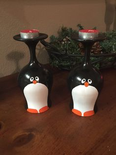 Hand painted Christmas wine glass candle holder by DebDebsCrafts