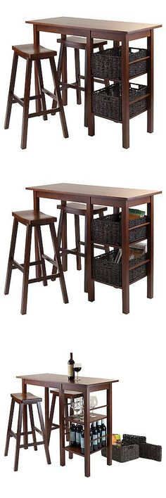 Sets 98478: 5 Piece Egan Set Breakfast Table With Baskets And Saddle Stools  Wood/