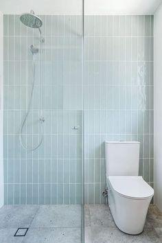 Gloss Mint Hand Made Look Subway Tile and Concrete Look Tile - Nerang Tiles Brick Tiles Bathroom, Wall Tiles, Contemporary Bathroom Inspiration, Mint Bathroom, Concrete Look Tile, Mint Walls, Feature Tiles, Bad Inspiration, Upstairs Bathrooms