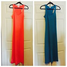 Maxi dresses  Maxi dress. Tank top style. Coral and blue.  Comes in S,M,L . $25 / 2 for $40 Dresses Maxi