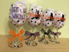 Drink up, Witches, Extra large, Personalized Wine glass, name and witch design, Bachelorette or Halloween party, gift on Etsy, $12.00