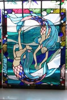 stained glass mermaid chiakis work stained glass panel the mermaids Stained Glass Projects, Stained Glass Patterns, Stained Glass Panels, Stained Glass Art, Mosaic Art, Mosaic Glass, Mermaid Fairy, Mermaid Glass, Inspiration Art