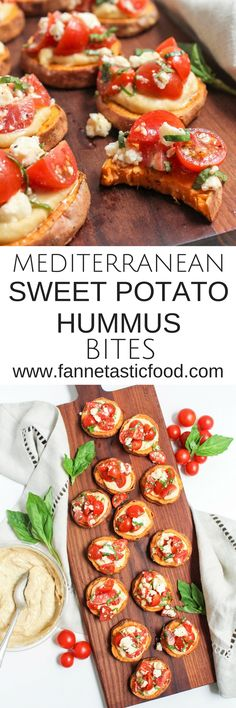 These Mediterranean Sweet Potato Hummus Bites are the perfect quick and easy gluten free appetizer! Just 6 ingredients and less than 30 minutes get you to an impressive, delicious, healthy snack that'll impress your friends. Recipe via @fannetasticfood