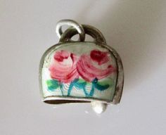 Silver & Enamel Cow Bell Charm or Pendant by TrueVintageCharms on Etsy