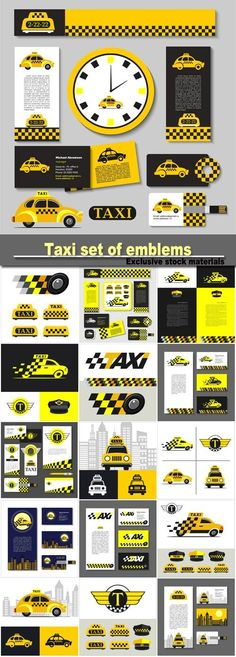 Taxi set of emblems elements of corporate style business card flyer banner