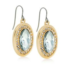"GLAMOUR GIRL EARRINGS + Large oval glass stones with glass stone halo accents. Fish hook back. 1¼""24.00 Item: 19201/ Y-E-S:  $10.00"