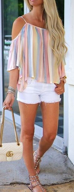 #Summer #Outfits Striped Blouse + Short Shorts