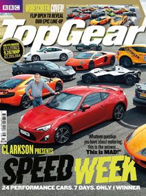 This magazine cover has a lot going on. It is very busy. I don't like how they repeated the same picture twice (there is the same picture up top, but it shows more cars). This magazine cover makes my eye jump all over the place. I think they designed it that way because they were trying to focus on speed week. I guess the cover works if they are only focusing on one thing. I don't like that the barcode is on the side. It's not a convenient place to put it. Car Magazine, Top Gear, That Way, My Eyes, Gears, Magazines, Cover, Image