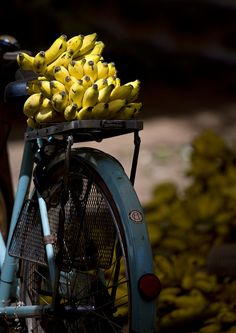 Bunches Of Bananas On The Carrier Of A Blue Bicycle At Madurai Market, India | by Eric Lafforgue