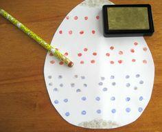 Easter Egg Craft: Simple Pencil Eraser Stamps for kids