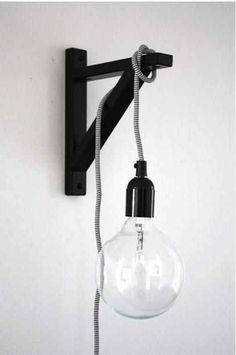 an ikea shelf bracket for hanging a light. about pop talk. an ikea shelf bracket for hanging a light. about Poppytalk. an ikea shelf br - Modern Wall Lights, Modern Wall Sconces, Modern Lamps, Home Decor Hacks, Diy Home Decor, Decor Crafts, Diy Luz, Luminaria Diy, Edison Lampe