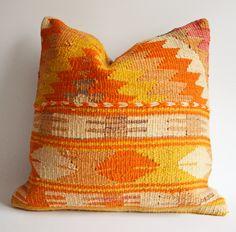 Sukan / Organic Modern Bohemian Throw Pillow. Hand Woven Wool Vintage Tribal Turkish Kilim Pillow Cover - 18x18 orange yellow cream white. $189.95, via Etsy.