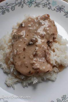 crock pot pork chops with 3 ingredients. (pork chops, ranch packet, cream of mushroom)