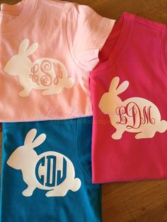 Bunny Monogram Tee Easter Shirt Monogram Shirt by LilyLouDesignsTX