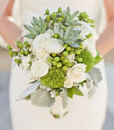 Designer: David Rorh Floral Design  Flowers: Ranunculus | Rose | Succulent  Other: St. John's Wort  Colors: Green | White