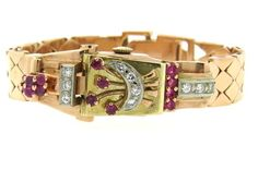 Retro Camy 14k Tri Color Gold Diamond Ruby Watch Available in the April 27 Auction on hamptonauction.com !!