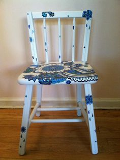 Handpainted Wooden Chair By NotSoPlainJaynes On Etsy, $85.00