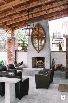 FireRock outdoor fireplace with stone and brick patio surround. Outdoor Rooms, Indoor Outdoor, Outdoor Living, Outdoor Decor, Fireplace Kits, Outdoor Stone, Backyard Retreat, Outside Living, Exterior Remodel