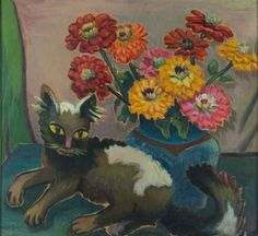 Maggie Laubser: Still Life with Cat and Flowers, 56 x 62 cm, oil on board © The Estate of Maggie Different Forms Of Art, Different Art Styles, Pretty Kitty, Pretty Cats, Watercolor Cat, Watercolor Paintings, All Types Of Cats, Marlene Dumas, Cat Paintings