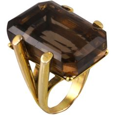 Glamorous Smoky Topaz Retro Ring at 1stdibs ❤ liked on Polyvore