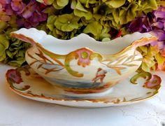 Stunning Limoges Porcelain Hand Painted Sauce Boat ~ Gold Gild ~ Water Scene #PouyatLimoges :):